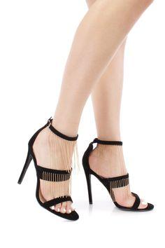 Black Dangling Beaded detailing Faux Leather Open Toe High Heels
