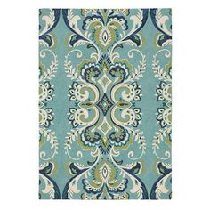 Adele Rug in Lake (floral Pattern, Hooked Rugs) | Handmade Area Rugs from Company C (New)