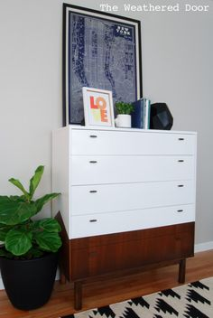 Hometalk :: Reverse Dipped MCM Dresser With Angled Sides