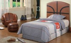 I'm pretty sure this is what my son's bedroom will look like. Bed Frame And Headboard, Headboards For Beds, Online Furniture, Kids Furniture, Basketball Bedding, Kids Bed Frames, Thing 1, Cool Rooms, Kid Beds
