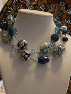 Blue and white necklace with porcelain crystal by sallysbeadsnc, $36.00