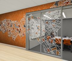 Morph Map mural and window film by Level Digital Wallcoverings. Healthcare, hospitality, corporate, and retail spaces. Office Wall Design, Office Mural, Industrial Office Design, Office Interior Design, Office Decor, Corporate Interiors, Office Interiors, Office Wall Graphics, Window Graphics