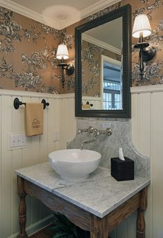 Powder Room with toile wallpaper, vessel sink, and board wainscoting via Cramer Kreski Designs Picture Frame Wainscoting, Wainscoting Nursery, Wainscoting Hallway, Wainscoting Kitchen, Painted Wainscoting, Wainscoting Panels, Wainscoting Ideas, Black Wainscoting, Small Bathroom Wallpaper
