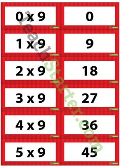 Multiplication Flash Cards - 9 Times Table | Teach Starter - Teaching Resources