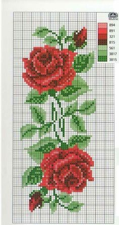 Wedding Cross Stitch Patterns, Easy Cross Stitch Patterns, Small Cross Stitch, Cross Stitch Rose, Cross Stitch Flowers, Cross Stitch Designs, Cross Stitch Embroidery, Free Cross Stitch Charts, Cross Stitch Pillow