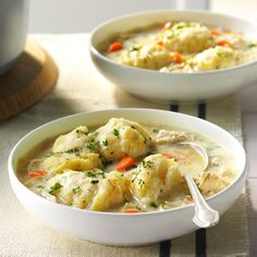 The Best Chicken & Dumplings. Using 2 qt of organic broth and precooked chicken breasts in crockpot. Used tortillas for dumplings. Homemade Chicken And Dumplings, Dumplings For Soup, Chicken Dumplings, Homemade Soup, Best Dumplings, Turkey And Dumplings, Drop Dumplings, Home Recipes, Dinner Recipes