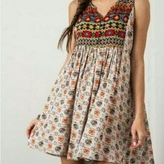 Sleeveless boho sundress with a notched neckline, allover print, and high back. Sleeveless Peasant Dress by Umgee USA. Simple Kurti Designs, Stylish Dress Designs, Kurta Designs Women, Stylish Dresses, Blouse Designs, Cute Dresses, Casual Dresses, Fashion Dresses, Summer Dresses