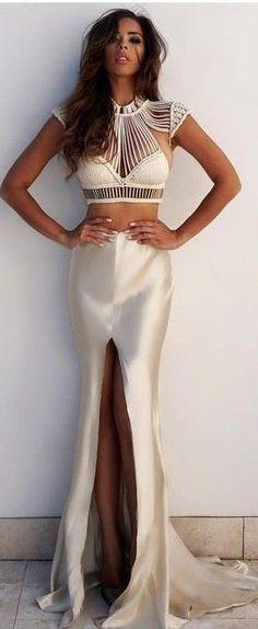 #summer #elegant #feminine | White Crochet Crop + Beige Satin Maxi Skirt