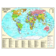 Giant world megamap large wall map paper with front sheet kids political world map laminated gumiabroncs Image collections