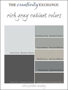 Collection of some of the most popular gray paint colors used for painting cabinets. Link has pictures of cabinets and vanities painted in these colors. {Color Palette Monday} The Creativity Exchange ///Boothbay gray and mindful gray -office // Coastal Paint Colors, Grey Paint Colors, Interior Paint Colors, Gray Paint, Furniture Paint Colors, Pintura Exterior, Mindful Gray, Cabinet Paint Colors, Favorite Paint Colors