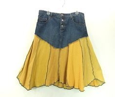 50% closing sale Upcycled jean skirt, womens size 14, yellow upcycled tshirts, Denim skirt 811