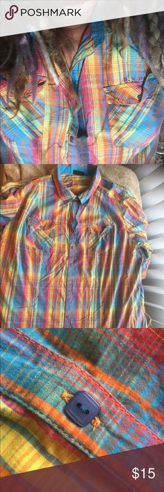 "Wild tropical plaid xxl shirt - jacket - statement 50"" around. 32"" long. Can almost be worn as a shirt dress if you are 5' 2"" or under. Square pearlized buttons. Ironing required. Cotton with no stretch. A fantastic shirt with jeans or jacket over t shirt dress. Lane Bryant Tops Blouses"