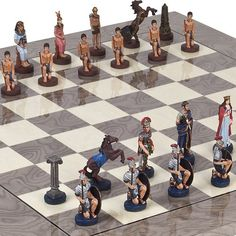 Hand Painted Romans  Egyptian Chessmen  Greenwich Street Chess Board From Spain -- Want additional info? Click on the image.