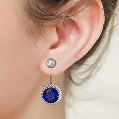 EleQueen 925 Sterling Silver Full Cubic Zirconia Double Round Drop Earrings Bridal Modern Ear Jacket Sapphire Color