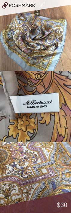 """Italian Silk Scarf. 33 1/2 X 33 1/2"""" Beautiful Italian silk scarf. Borders are hand stitched. Colors are gray, blue, gold and lilac. Inside is as beautiful as the outside. You could also hang this on a wall:) Accessories Scarves & Wraps"""