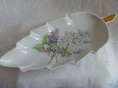 Old Nuremberg Bavaria Germany Leaf Shaped Porcelain Dish Flowered Gold Gilded Stem