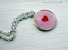 Pendant Necklace  Red Heart Pink Hand Painted by jojolarue on Etsy