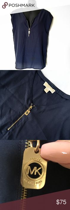 """MICHAEL KORS NAVY BLOUSE GOLD HALF ZIP Gold half zipper MK hanging tag No sleeves Hanger straps still attached  Color: Navy Blue  Size: Medium  Condition: Excellent - worn once  Material: 100% Polyester  Measurements: LENGTH: 25"""" BUST: 39"""" SHOULDER WIDTH: 20""""  No stains, rips, tears 