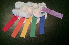 Cut a white cloud and strips of rainbow colors, and add fluffy cotton balls. Rainbow Crafts Preschool, Preschool Color Theme, Preschool Art Lessons, Preschool Ideas, Pre K Activities, Color Activities, Shape Crafts, Color Crafts, Crazy Colour
