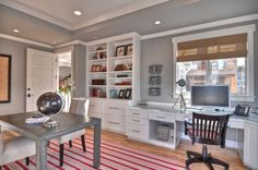 thousands of examples of Office built-ins...you can do most yourself by finding items at ikea or craigslist, painting them all the same color, adding same hardware and some trim molding and VOILA!