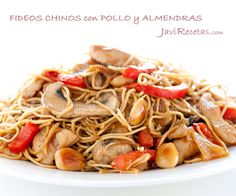 Fideos Chinos con Pollo y Almendras Easy Delicious Recipes, Snack Recipes, Cooking Recipes, Yummy Food, Healthy Recipes, Chinese Cabbage, Chinese Food, Fideo Recipe, Asian Recipes