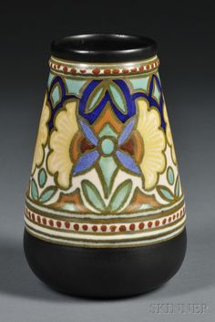 "Gouda Matte Glaze ""Madeleine"" Pattern Vase | Sale Number 2589B, Lot Number 579 | Skinner Auctioneers Gouda, Slab Pottery, Pottery Art, Earthenware, Stoneware, Ceramic Decor, Egg Decorating, Vintage Pottery, Art Deco"