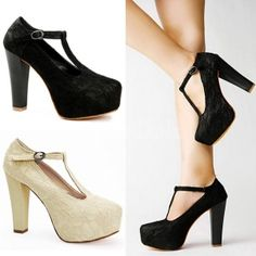 Women's Vogue Sexy Lace Shoes Chunky High Heels Platform Buckle Pumps