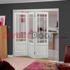 Nuvu Roomfold Downham style white door and frame set with bevelled clear glass AND free delivery, they would be supplied without final decoration. The doors used are all 1981mm high and 686mm wide, this gives an overall opening requirement of 2078mm high and 2130mm wide, the structural opening should therfore be 2083mm high and 2140mm wide Frame and track may need cut to suit your specific choice of doors especially if using any door size below 686mm wide, the frame will ...