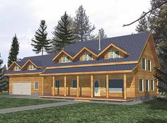 Log Houses House Plan with 2032 Square Feet and 3 Bedrooms(s) from Dream Home Source | House Plan Code DHSW58878