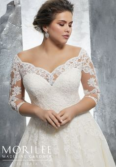Kosette, Style 3235 | Classic Tulle Plus Size Bridal Ball Gown with Frosted Alençon Lace Appliqués on and 3/4 Sleeves