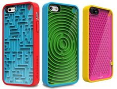 Gamer Case for iPhone 5 - Puregear - Ball bearing maze case for the iPhone that makes for a great distraction and thankfully works when your batteries grow dull. Basically on the back of your iPhone is one of those games where you have to guide the little metal ball around a maze until you get it to the end or the middle or whatever. A fun distraction and the colors, patterns and maze itself make for a very unique and interesting iPhone case.