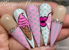 Acrylic Nails Coffin Pink, Summer Acrylic Nails, Pink Nails, Dope Nails, Swag Nails, Pop Art Nails, Mickey Nails, Luminous Nails, Nails Design With Rhinestones