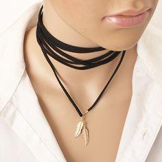 Noir en cuir Feuille collier élégant De Mode Longue Corde collier femme Tube Faux Collier de foulard Collier pour femmes X198