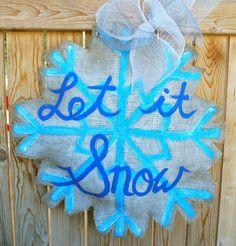 Snowflake Burlap Door Hanger