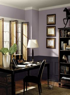 Benjamin Moore Paint Colors - Purple Home Office Ideas - Striking Modern Purple Home Office - Paint Color Schemes . . . . . Transform a traditional space with a pair of purple hues. . . . . . Upper Walls - Mauve Blush (2115-40); Wainscoting - Tulsa Twilight (2070-10); Ceiling & Trim - Collingwood (OC-28).