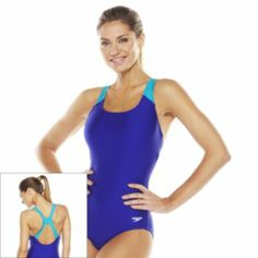 More of a classic athletic suit - Speedo Xtralife Colorblock One-Piece Swimsuit - Kohl's