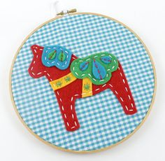 Dala Horse Embroidery Hoop Wall Art Nursery Gingham Teal Red Green