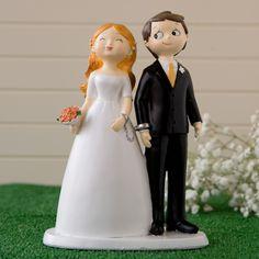 Original figura de novios para la tarta de boda esposados y con cara sonriente