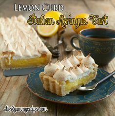 Lemon Curd Italian Meringue Tart With a little bit of substitution, this could be a great Pesach dessert.