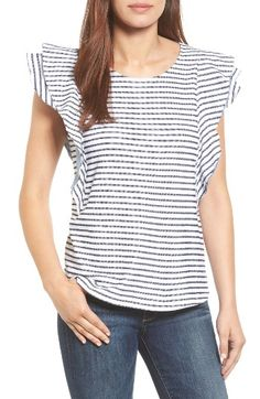 Free shipping and returns on Caslon® Ruffle Sleeve French Terry Tee at Nordstrom.com. Raw-edge, contrast-trimmed ruffles frame this French terry tee with fun, feminine attitude.
