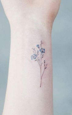 Wildflower Blue Watercolor Wrist Tattoo Ideas for Women - Ideas de tatuaje de f. - Wildflower Blue Watercolor Wrist Tattoo Ideas for Women – Ideas de tatuaje de flores para mujere - Little Tattoos, Mini Tattoos, Body Art Tattoos, Tatoos, Hot Tattoos, Water Tattoos, Skull Tattoos, Pretty Tattoos, Beautiful Tattoos