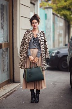 #fashion #streetstyle #style SpikiestLittleThing — thefscrapbook: A leopard overcoat adds a touch...