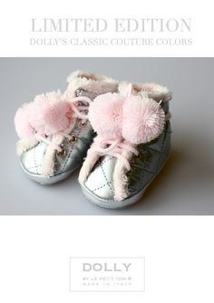 DOLLY by Le Petit Tom ® BABY BOOTS 12boot silver with pink pompoms