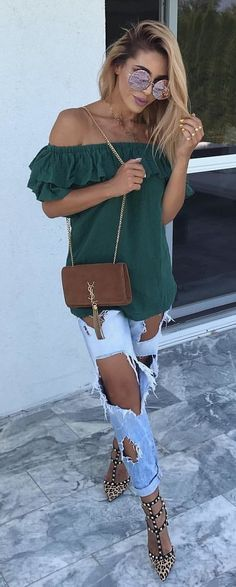 #summer #outfits Green Off The Shoulder Top + Destroyed Jeans
