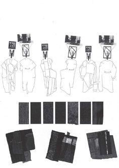 Fashion Sketchbook page - fashion design drawings, research & fabrics; fashion portfolio layout // Louise Alsop