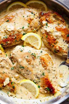 Lemon Chicken Scallopini with Lemon Garlic Cream Sauce combines two recipes into one: lemon garlic chicken AND a lemon garlic cream sauce!