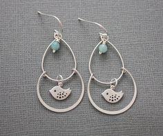 bird dangle chandelier earrings with amazonite drop, chic, casual, modern. $22.00, via Etsy.
