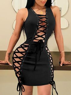 Shop Solid Eyelet Lace-up Bodycon Dress right now, get great deals at Joyshoetique. Clubbing Outfits, Sexy Outfits, Sexy Dresses, Short Dresses, Fashion Dresses, Cute Outfits, Lace Up Bodycon Dress, Girl Fashion, Womens Fashion