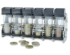 Coin dispenser by Cambist - makes an efficient and easy to use coin handling system for cash fare collection onboard your bus, train or tram. Safe Storage, Easy To Use, Mason Jars, Coins, Train, Change, Rooms, Mason Jar, Strollers