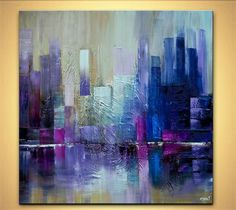 """Modern 36"""" x 36"""" ORIGINAL City Skyscrapers Acrylic Painting Signed Modern Palette Knife Acrylic Abstract by Osnat Tzadok:"""